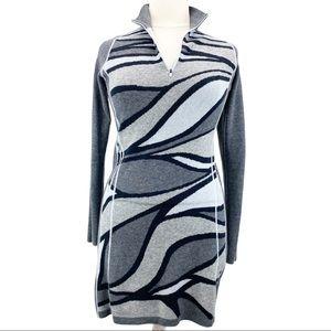 Title Nine Super Power Wool Abstract Zebra Dress